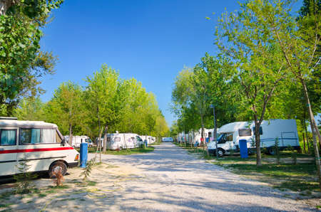 Campers  parked in a camping, Italy. Stock Photo