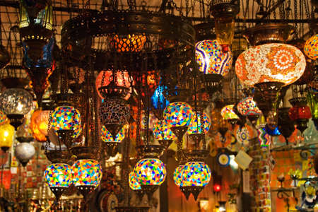 stall: Authentic Turkish Lamps in Shop. Editorial