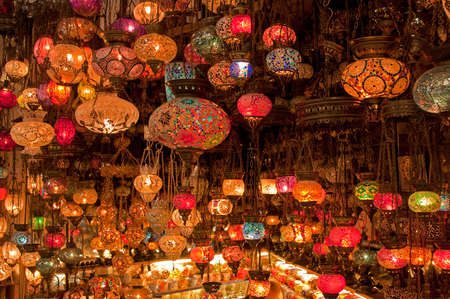 Variety of Colorful Turkish Lamps on Sale. Stock Photo - 11707684