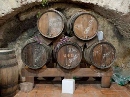 Wine barrels stacked in an old cellar, Canary island, Spain.