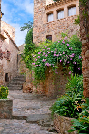 street corner: Summer green yard in medieval town, Peratallada, Spain Stock Photo