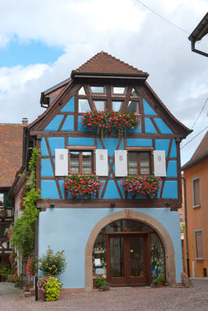 half timbered: French half-timbered house in Alsace, France.