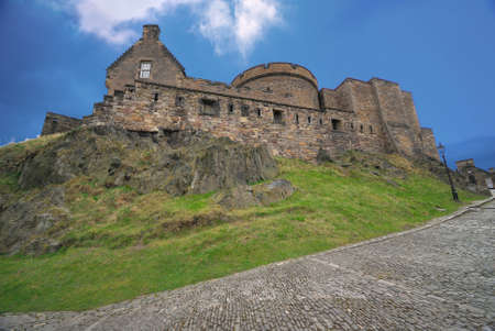 royal park: Edinburgh Castle, view from the cobbled road.