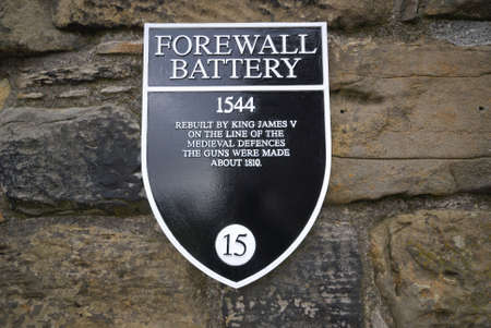 Edinburgh Castle, Forewall Batterry Sign , UK.