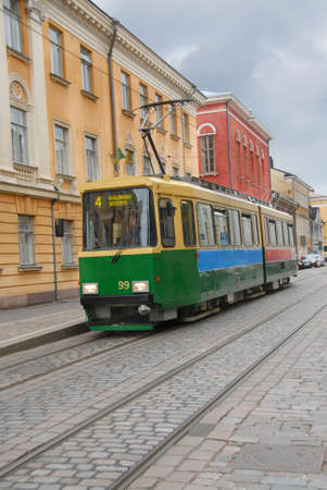 A typical tram in Helsinki city center, Finland.