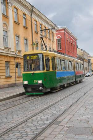 A typical tram in Helsinki city center, Finland.