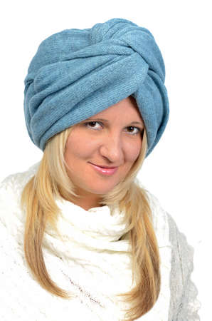 knitten: Portrait of the beautiful young woman in blue knitten turban