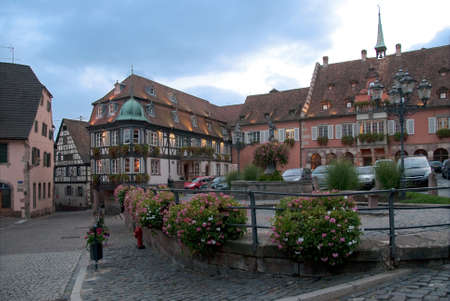 pictoresque european square on an autumn day, Alsace, France photo