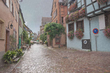 Colorful narrow street with beautiful half-timbered houses and flowers, Alsace, France. photo