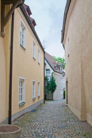 empedrado: Calles estrechas y empedradas, en Baviera.
