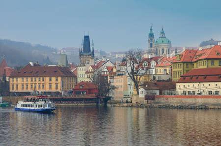 View on Prague above river Vltava, Czech Republic. photo