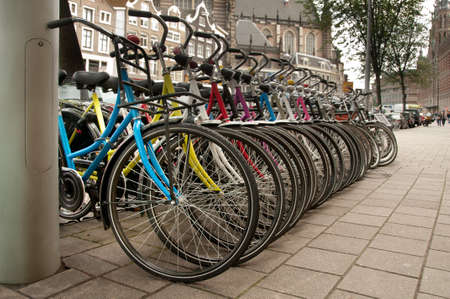 Bikes parked in the city Amsterdam, Netherlands. Stock Photo