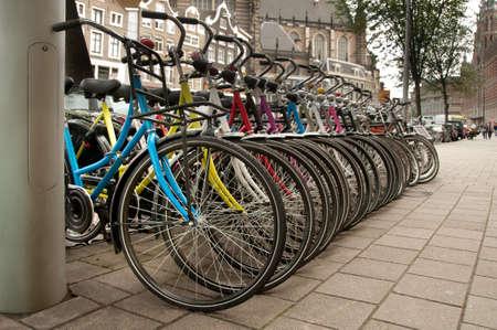 Bikes parked in the city Amsterdam, Netherlands. Standard-Bild