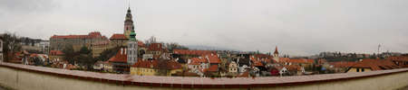 unesco in czech republic: Chesky Krumlov town panoramic overview with castle and tower, Czech Republic.