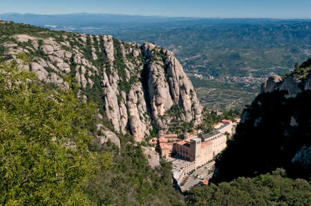 Montserrat Monastery - a beautiful Benedictine Abbey high up in the mountains near Barcelona, Spain photo