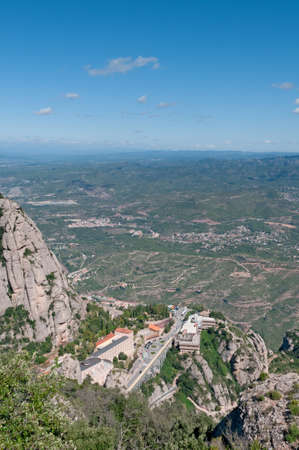 Montserrat Monastery-Benedictine Abbey high up in the mountains near Barcelona, Spain photo