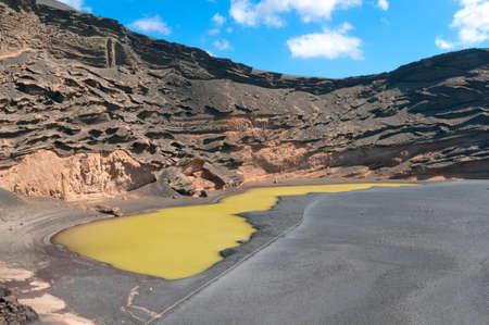 stratified: Green Lake El Golfo, Lanzarote Island, Spain