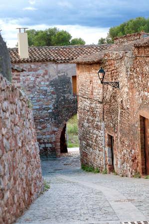 mediterranian home: Medieval street in Spain near Montserrat mountain, Collbato, Spain