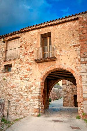 mediterranian home: Arches in the walls in Collbato - village near Montserrat Mountain, Collbato, Spain Stock Photo
