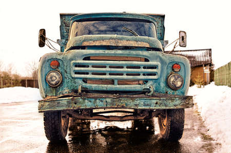 old fashioned: Old Vintage Rusty Soviet-Style Blue Truck