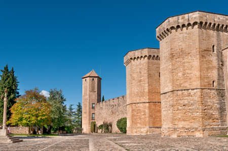 Fortified Wall and square in Front of Poblet Monastery, Tarragona Province, Catalonia, Spain. Stock Photo - 12073850
