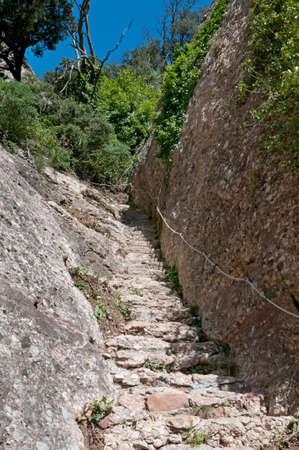 monastery nature: Steps hewn into rock , Montserrat Mountain, Catalonia, Spain Stock Photo