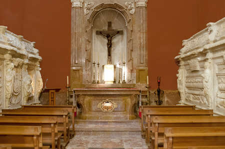 bible altar: Empty Church with wooden benches. Editorial