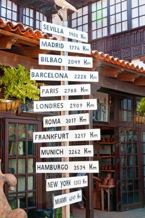 distance marker: Milestones world sign at the street, Spain.