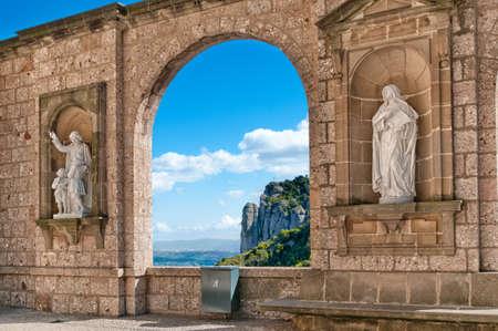 Sculptures in the cloister Montserrat Monastery, Tarragona\ province, Spain.