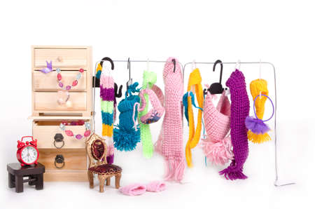Wooden cabinet with clothes and accessorys for tiny dog photo