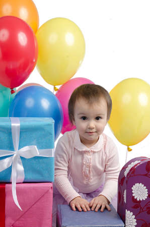 Children party with gifts and colorful balloons photo