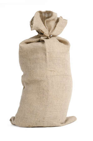 Full big sack with a string, isolated on white photo