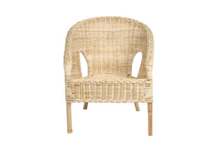 cane chair: Rattan chair, isolated on white background