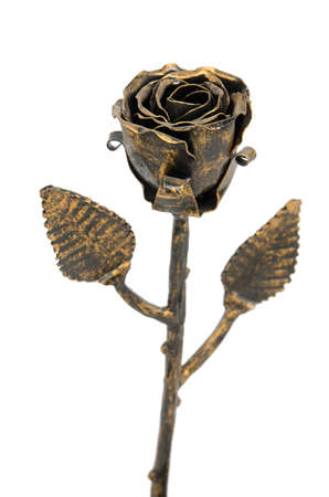 oxidized: Handmade bronze rose Stock Photo