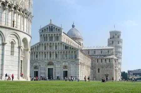 Cathedral and Tower of Pisa in Miracoli square - Italy
