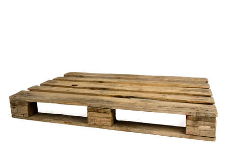 euro pallet: Old wooden pallet, isolated
