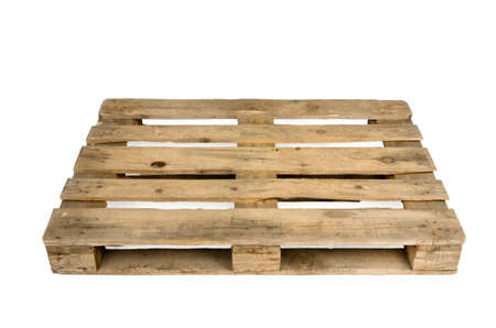 Old wooden shipping pallet, studio shot Archivio Fotografico
