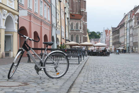 deutschland: Bicycle at the Landshut old town square by Munich, Bavaria, Germany