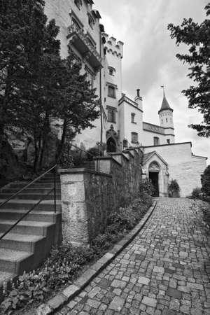 schwangau: Famous Hohenschwangau Castle, black-and-white, Germany Editorial