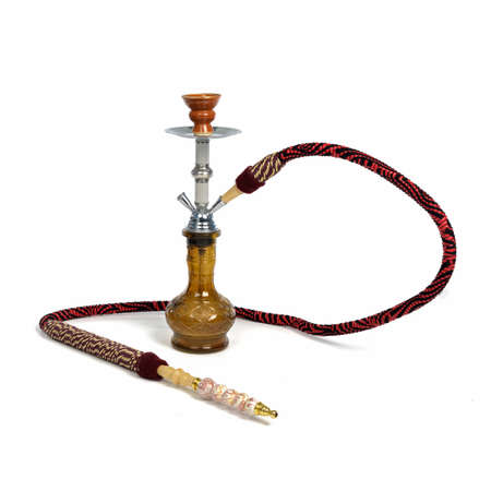 Red hookah isolated on a white background photo