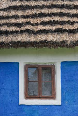 Traditional Ukrainian house, window close up, Pirogovo Folk Museum, Kiev photo