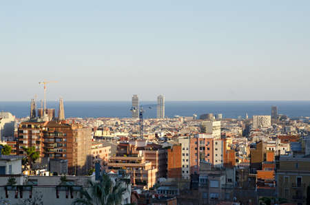 Panoramic view of Barcelona city, Spain  photo