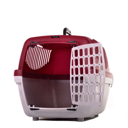 Small pet travel cage isolated photo