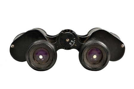 Old binoculars, isolated on white background photo