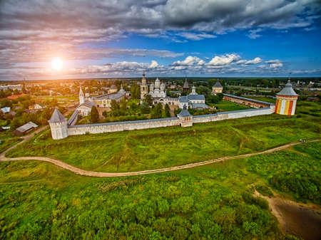 tourism russia: Sunset over Spaso-Prilutsky monastery in Vologda Region