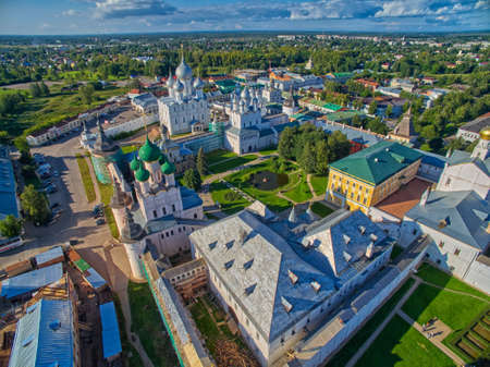 birdeye: Bird-eye view of Gorgeous Rostov the Great Kremlin, Part of Russia Golden Ring Historical Heritage