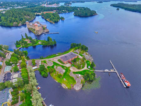 15th century: Aerial view of Olavinlinna Olofsborg Medieval 15th century northernmost Stone Castle in Savonlinna, Finland.