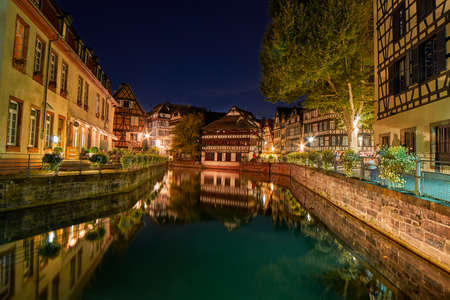 center city: Traditional Half-timbered houses in Strasbourg Petite France district at night