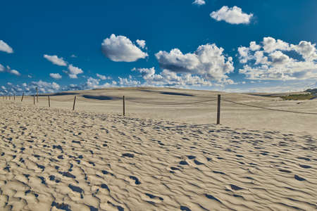 footprints in sand: Endless Sandy Dunes of Leba on Baltic Sea Shore in Poland