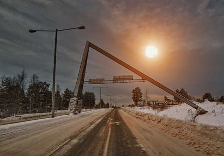 rovaniemi: Famous Arctic Circle road at winter Sunset